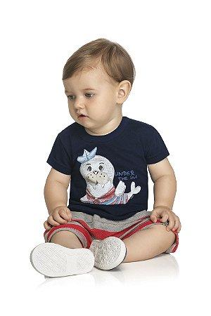 Conjunto Bebê Camiseta e Bermuda Saruel - Estampa Foquinha