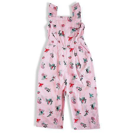 Macacão Bebê Verão Regata longo Rosa - Tip Top