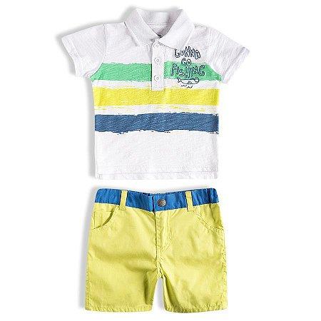 Conjunto Bebê Masculino Camisa Polo e Bermuda - TIP TOP