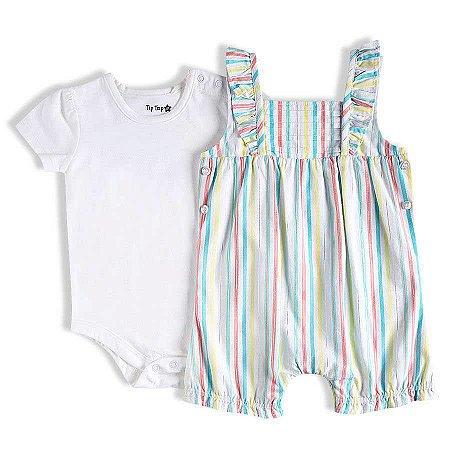 Jardineira Bebê Feminina Listrada Com Body Liso - Tip Top