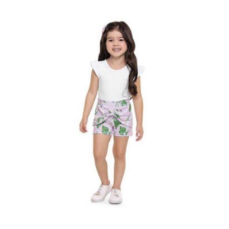 Conjunto Body e Shorts Estampa Flores