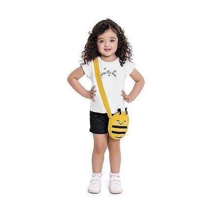 Conjunto Blusa e Shorts + Bolsinha de Abelha