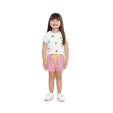 Conjunto Bebê Blusa Unicórnio com Pompom e Shorts Coração