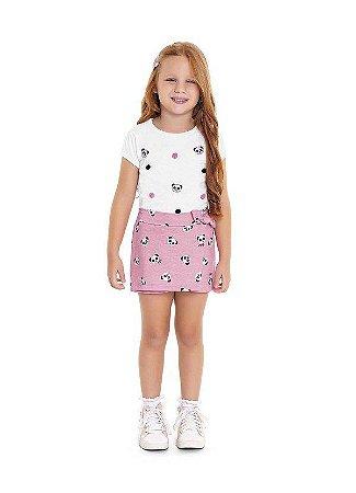 Conjunto Infantil Blusa e Shorts Saia - Aplique de Panda e Pom Pom