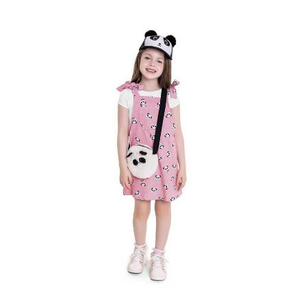 Conjunto Infantil Salopete + Bolsa - Panda