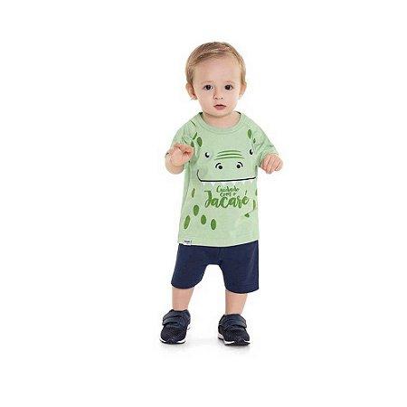 Conjunto Bebê Masculino Camiseta e Bermuda Estampa de Jacaré