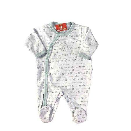 Macacão longo Bebê Masculino Coelinho Branco/Azul - Algodão Egípcio e Preteção UV+50 - Piu Piu