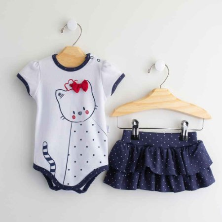 Conjunto Bebê Playwear  Body e Saia Estampa Gatinha -Piu Piu