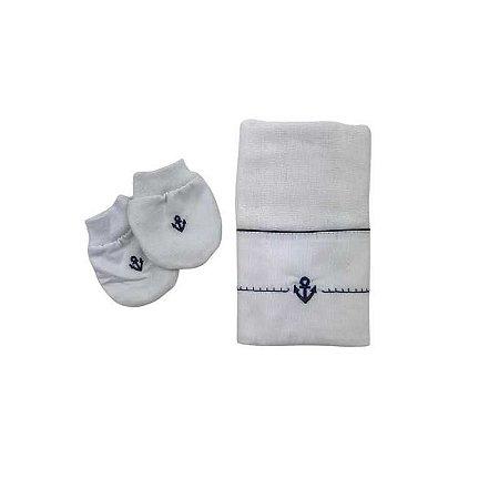 Kit Luva e Fralda -  Bordado Ancora Azul Cor:Branco