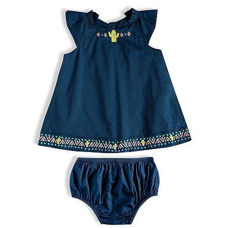 """Vestido Bebê Com Calcinha """"Cacto"""" - Tip Top"""