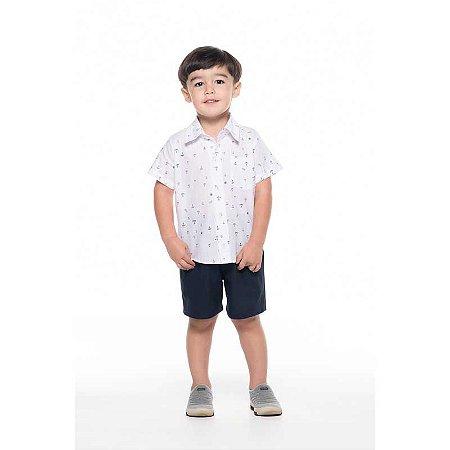 Conjunto Social Masculino Camiseta e Bermuda Estampa de Âncora