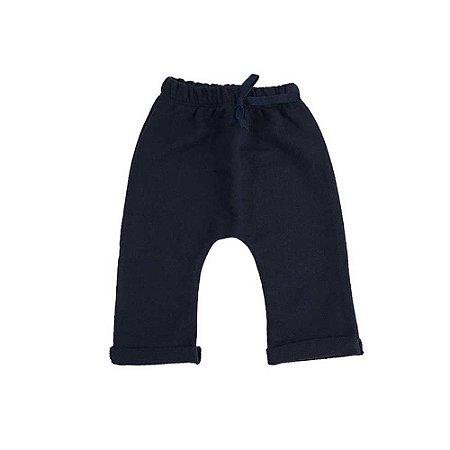 Calça Saruel Infantil Masculina Moletinho Azul Marinho