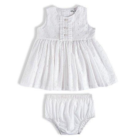 Vestido Bebê Manga Curta de Lese Branco Batizado - Tip Top