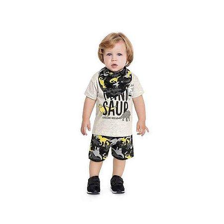 Conjunto Bebê Masculino com Camiseta e Bermuda + Babador