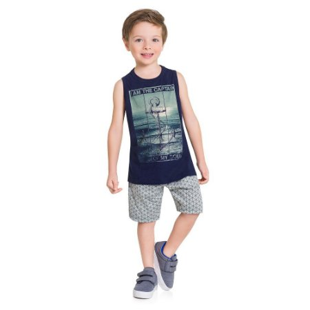 "Conjunto Infantil Masculino Regata + Bermuda Milon ""Capitain"""