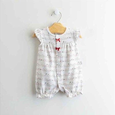"""Macão Curto Bebê Feminino Floral """"Coelhinhas"""" Vermelho/Bege - Algodão Egípcio e Preteção UV+50 - Piu Piu"""
