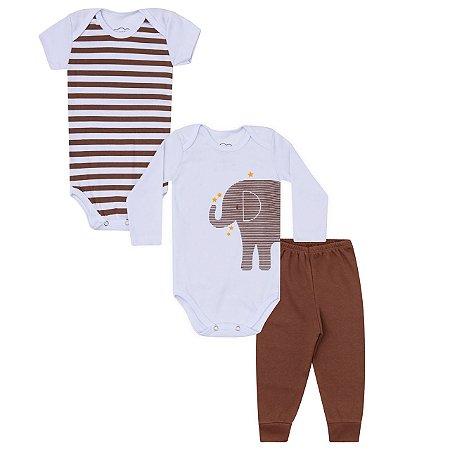 Kit Bodies e Calça Bebê 3 peças em Suedine - Calça, Body Manga Curta e Body Manga Longa - Elefante