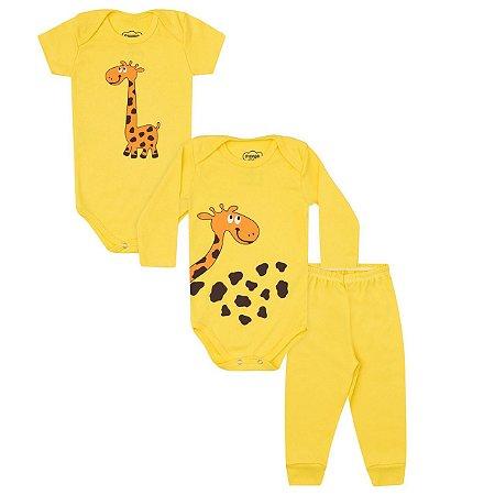 Kit Bodies e Calça Bebê 3 peças em Suedine - Calça, Body Manga Curta e Body Manga Longa - Girafa