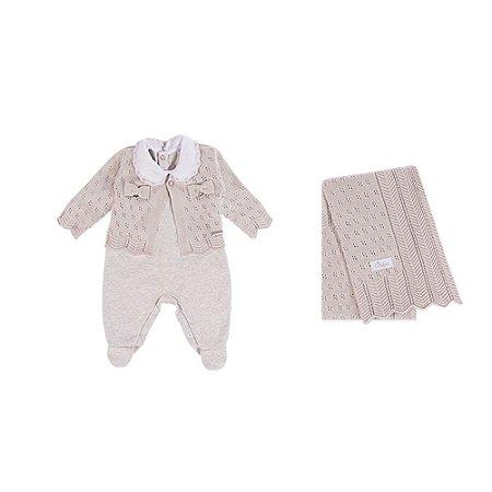Saída De Maternidade Menina Suedine/Tricot (Macacão, Casaquinho e Manta) Cinza - RN