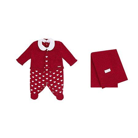 Saída De Maternidade Menina Tricot Corações (Calça,Casaquinho e Manta) Vermelha - P