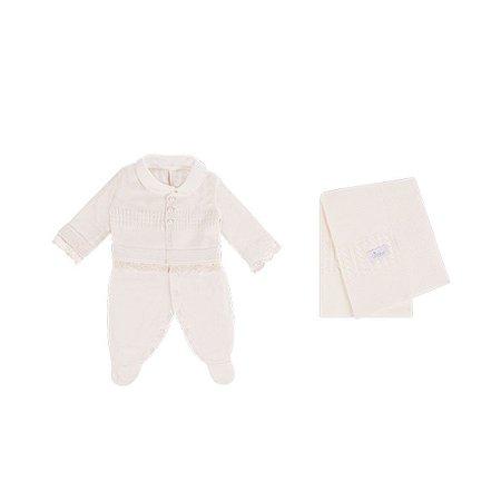 Saída De Maternidade Menina Suedine/Tricot (Calça,Casaquinho e Manta) Marfim