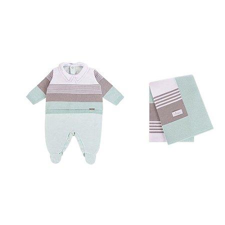 Saída De Maternidade Em Plush e Tricot Listrado Tricolor (Macacão e Manta) Verde - P