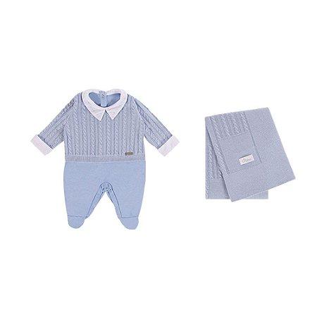 Saída De Maternidade Em Suedine e Tricot com Detalhes de Trança  (Macacão e Manta) Azul Bebê - P