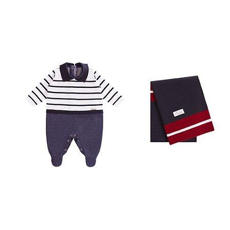 Saída De Maternidade Em Tricot/Jeans Denin Listrado (Macacão e Manta) Azul - P
