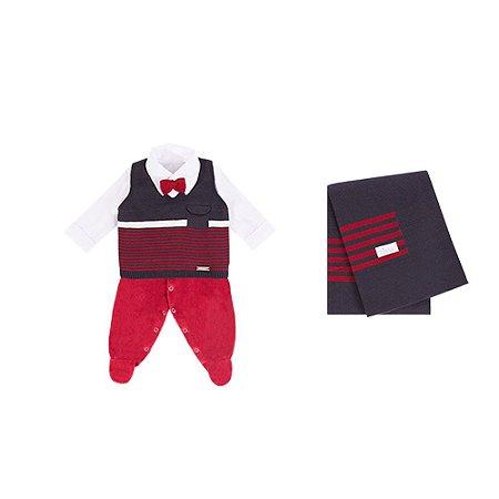 Saída De Maternidade Em Tricot/Plush Masculina Com Listras e Gravata (Macacão, Colete e Manta) Vermelho P