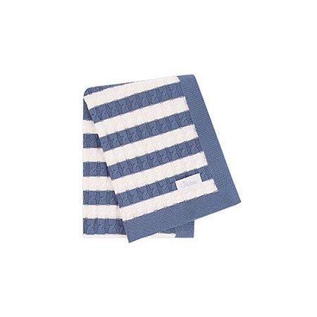 Manta Luxo em Tricot Trança Listrada Azul e Branco - Colibri