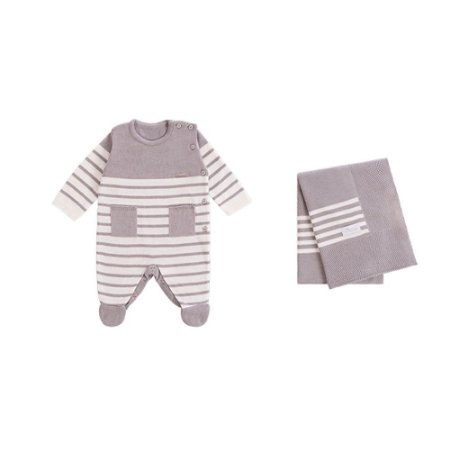 Saída De Maternidade Masculina Tricot  Listrada - 2 peças - Cinza - RN