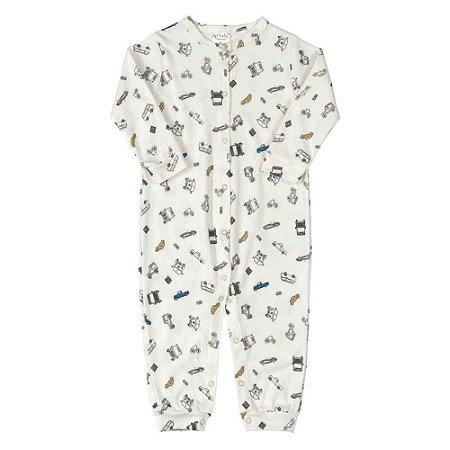 Macacão Bebê Manga Longa em Suedine - Carrinhos - Up Baby - Off White
