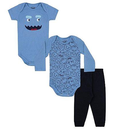 Kit Bebê Menino 3 peças - Bodies /Calça - Azul- Monstrinhos
