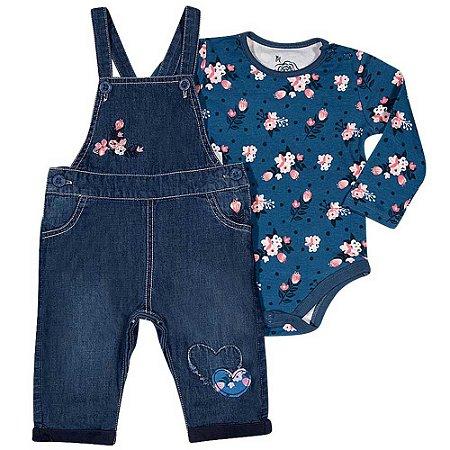 Jardineira Jeans com Aplique Bordado e Body - Tip Top