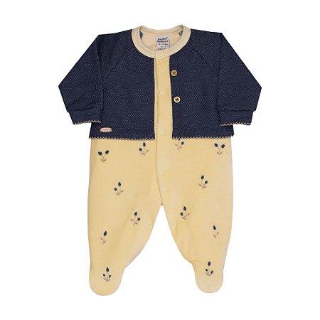 Macacão Longo Bebê Menina Plush Flower Granden - Amarelo/Jeans - Sonho Mágico