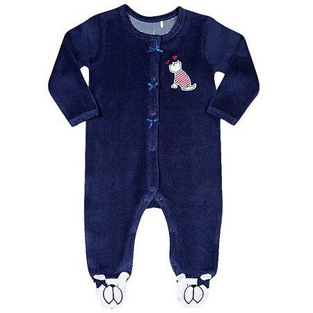 Macacão Bebê Com Aplique De Cachorrinho - Azul/Vermelho - Tip Top