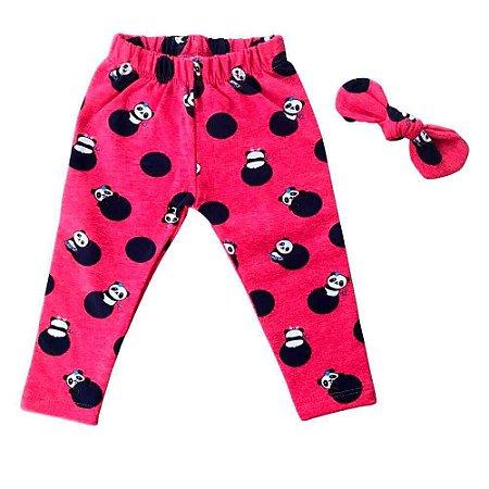Calça Legging Bebê Peluciada Panda - Cinza / Vermelha