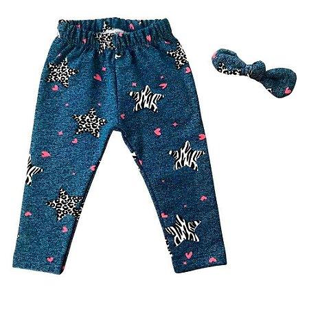 Calça Legging Bebê Peluciada - Estrelas com Glitter - Azul Jeans e Preta