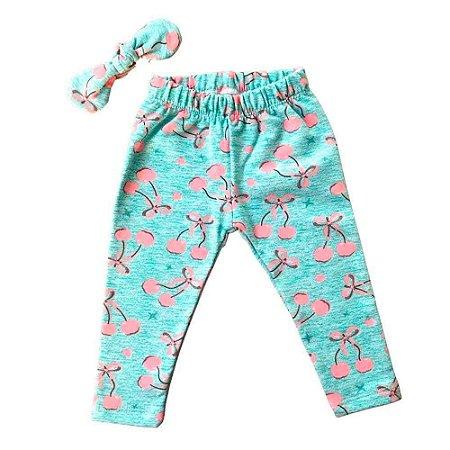 Calça Legging Bebê Peluciada - Cerejinhas com Glitter - Azul