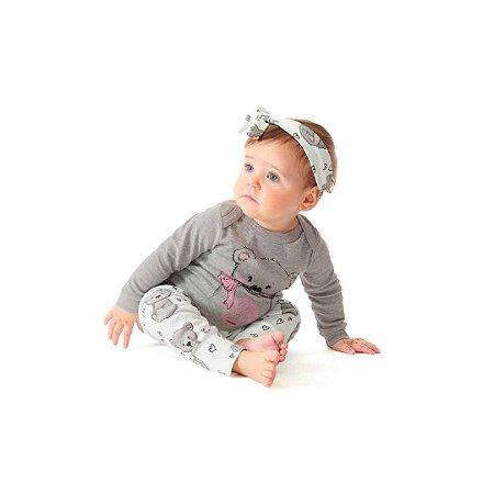 Boby Bebê em Suedine Manga Longa - Menina - Ursinha - Cinza