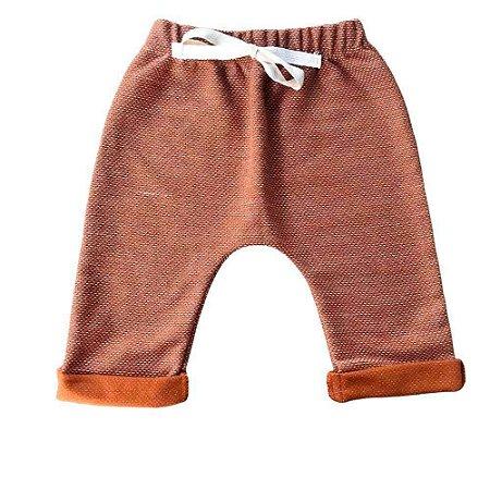 Calça Saruel Infantil Masculino Moletinho Caqui