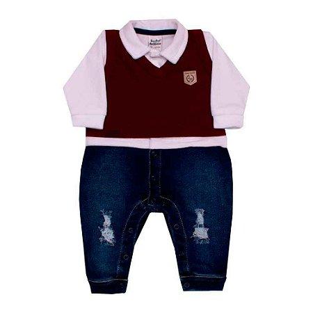 Macacão Longo Bebê Jeans Plush Infinite - Bordô - Sonho Mágico