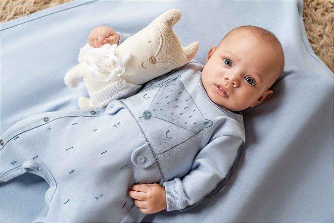 Macacão Longo Bebê Malha Fox - Azul - Sonho Mágico