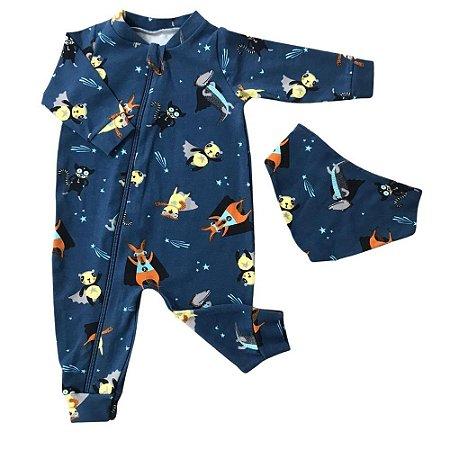 Macacão Bebê em Cotton Light + Bandana - Bichinhos de Capa - Azul