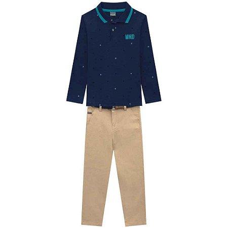 Conjunto Masculino Blusa Polo Azul Marinho com Calça Sarja Caqui
