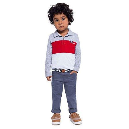 Conjunto Masculino Blusa Polo com Calça Sarja e Cinto