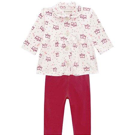 Conjunto Bebê Casaco Plush e Calça Legging em Cotton - P/M/G