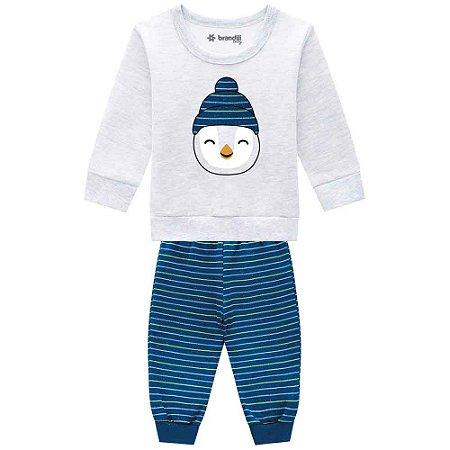 Conjunto Masculino Blusão Moletom e Calça Jogger - Bordado de Pinguim