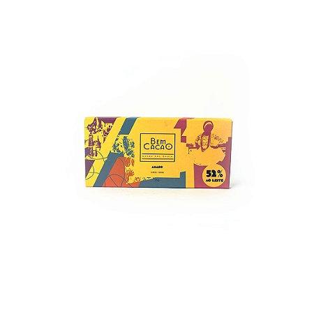Chocolate 52% Amado com Nibs 55g - BEM CACAO
