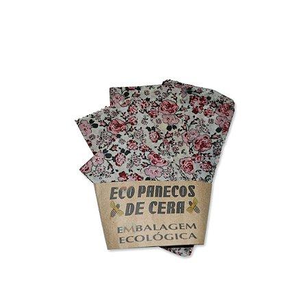 Kit com 4 Embalagens Ecológicas Estampa Rosas